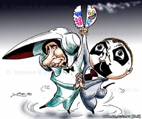 Тандем Путин и Медведев раскручивают Олимпиаду в Сочи - 2014 и футбольный Чемпионат Мира - 2018, картинка, карикатура, cartoons